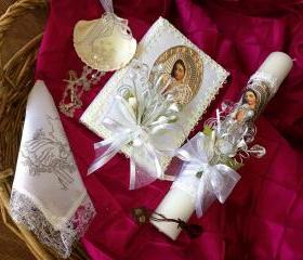 Baptism candle set/ vela para bautizo