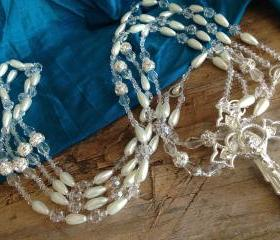 Swarovski drop pearls wedding lasso/ white pearls